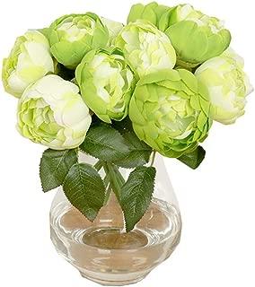 Hivot Artificial Peony Silk Flower Leaf Wedding Bouquet Party Home Garden Decor Craft Multicolor 1 Bouquet 6 Heads