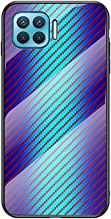 Grandcase Oppo F17 Pro Case,Ultra-thin Advanced Carbon Fiber Texture Gradient Scratch Resistant Tempered Glass Back Protec...