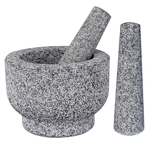 Grandma Shark Mörser und Stößel Set mit 2 Stößeln Großer Hartmetall Mörtel Grau-14cm Durchmesser