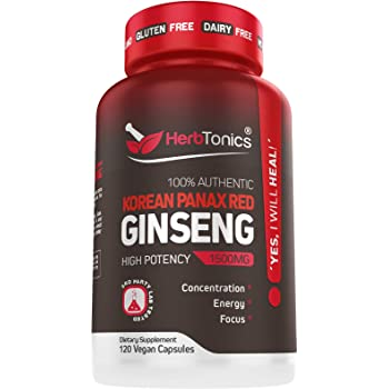 High Strength Korean Red Panax Ginseng Capsules 1500 mg Supplement -120 Vegan Pills High Ginsenosides Powder Extract to Boost Energy, Endurance, Mood, Performance