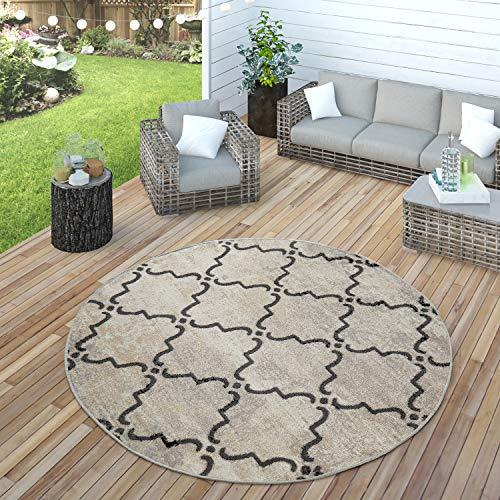 Paco Home In- & Outdoor Teppich Modern Vintage Design Terrassen Teppich Wetterfest Grau, Grösse:Ø 200 cm Rund