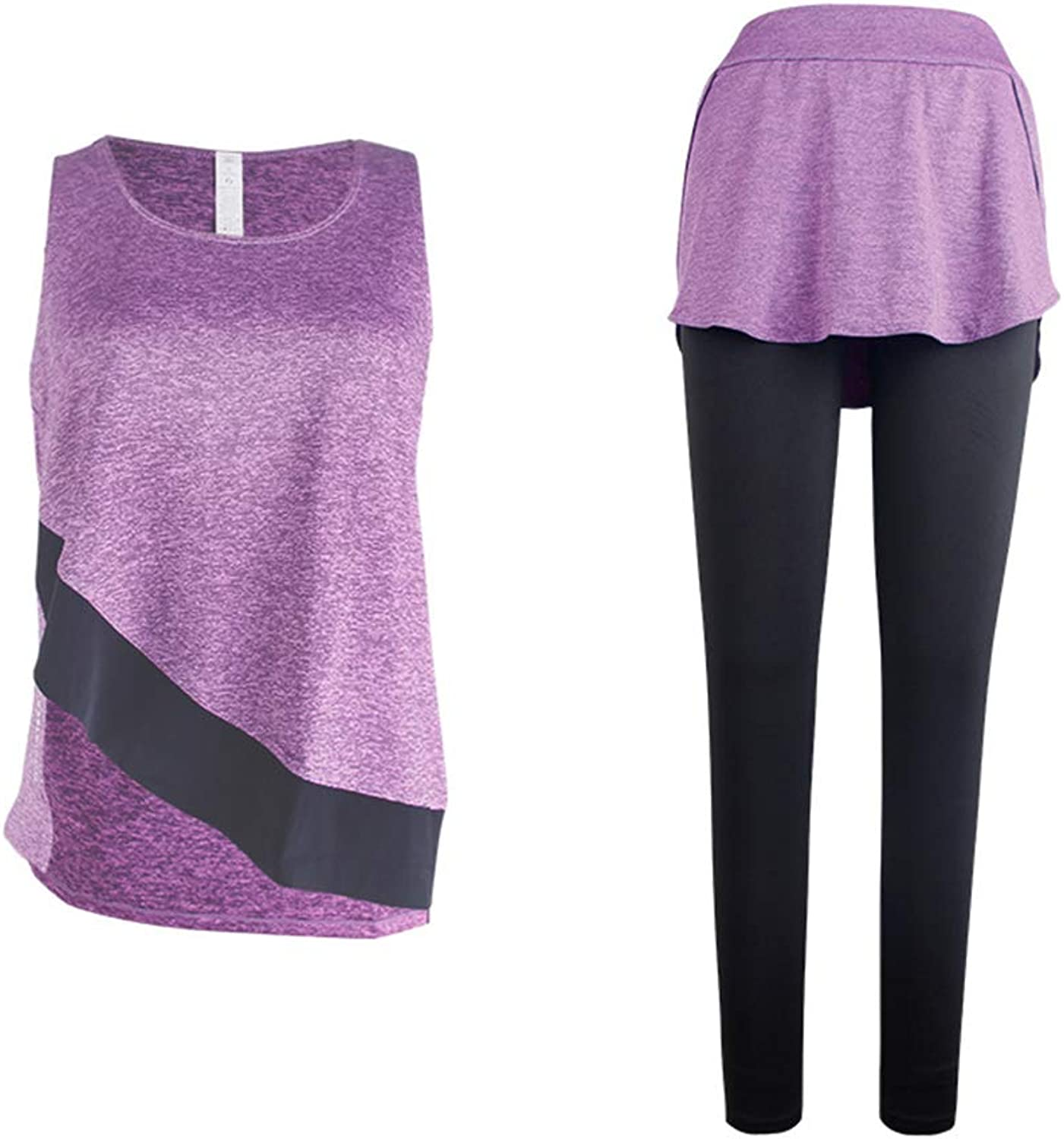 Yoga Clothing Set TwoPiece Set Ms Fitness Sportswear Fake Two Pieces Pants Dance Practice Clothes Fitness Suit