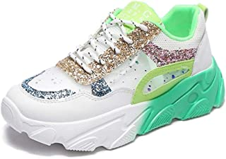 Lady Chunky Shoes Mixed Color Low-Top Fashion Sequin Non-Slip Jogging Shoes Platform Lace-Up Sweet Style Casual Sneakers
