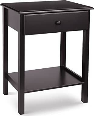 HOMFA Night Stand End Table Wooden Bedside Table with Drawer and Storage Shelf Multifunctional Antique Home Furniture, Dark B