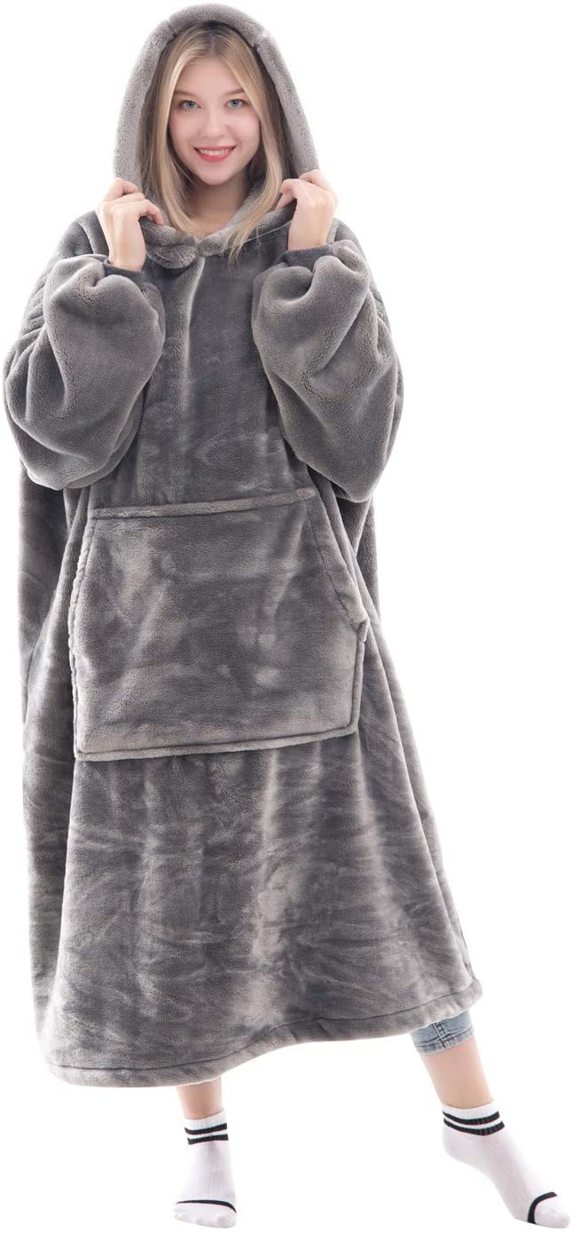 Waitu Wearable Blanket Sweatshirt for Women and Men, Super Warm and Cozy Big Blanket Hoodie, Thick Flannel Blanket with Sleeves and Giant Pocket - Gray