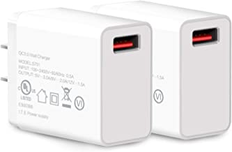 18W Quick Charge 3.0, YDS 2 Pack + Qualcomm Certified QC 3.0 USB Wall Charger (Fast Charger Compatible with Fast Wireless Charger) for Galaxy S8/S7/S6/Edge/Plus, Note 5/4, LG G5 V10, HTC 10 More.