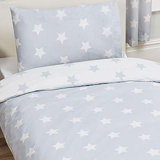 Juego de sábanas para niños gris con estrellas blancas. 2 piezas (1 sábana de doble cara y 1funda de almohada).