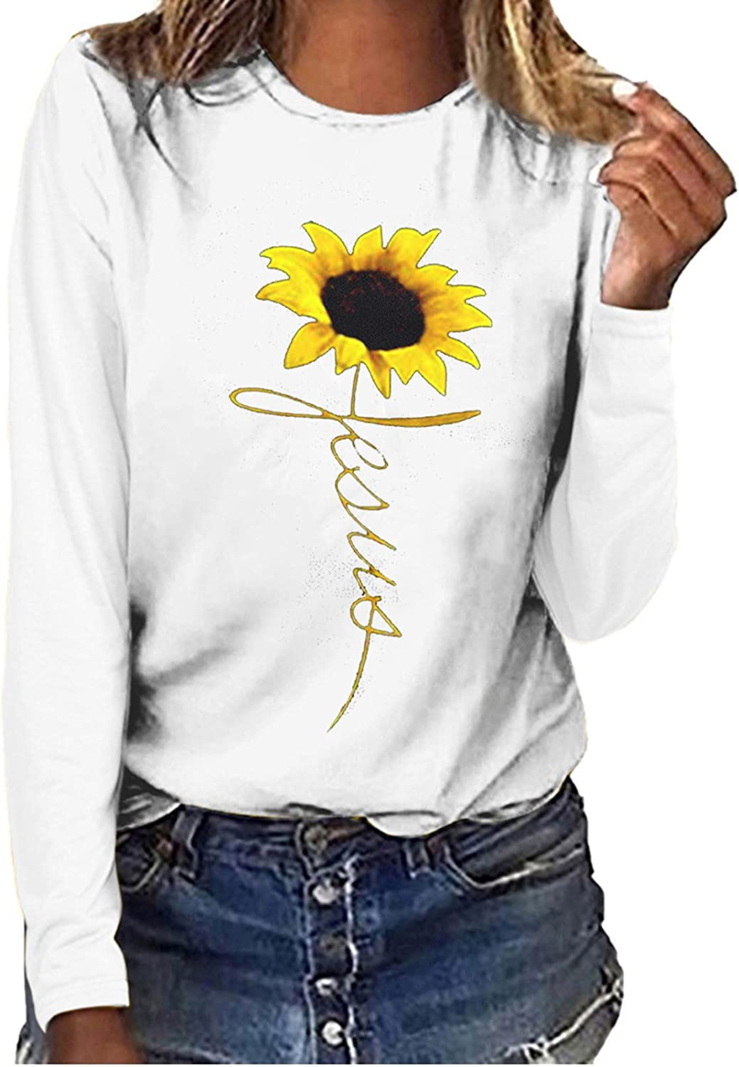 Sweatshirt for Womens Graphics Long Sleeve O Neck T-Shirt Top Sunflower Tee Tops Comfy Tunics Blouse Pullover