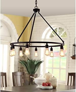 Rustic Chandelier Centerpiece With Bulbs For High And Low Ceiling Rooms | Circular Light Fixture With Industrial Accents Creates Modern Farmhouse Feel | Bronze Pendant Lamp Provides Ample Lighting