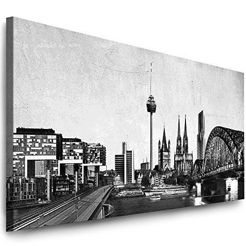 Julia-Art Leinwandbilder 80 mal 30 cm Panorama Bild Köln Stadt Skyline - Wandbild fertig gerahmt - Kunstdruck XXL Leinwand - verschiedene Varianten Kö-01-11