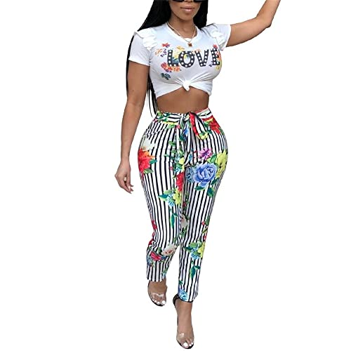 LKOUS Womens Summer Floral Print 2 Pieces Outfits Bodycon Puff Short Sleeve  Crop Top and Bandage 90878e4f60