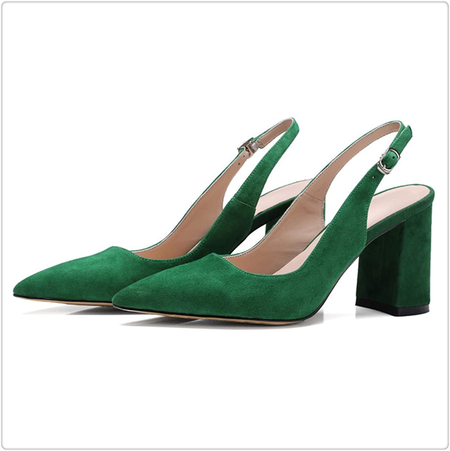 Dmoshibei Kid Suede High Heels Pointed Toe Slingbacks Thick Pumps Autumn Lady Party Heels