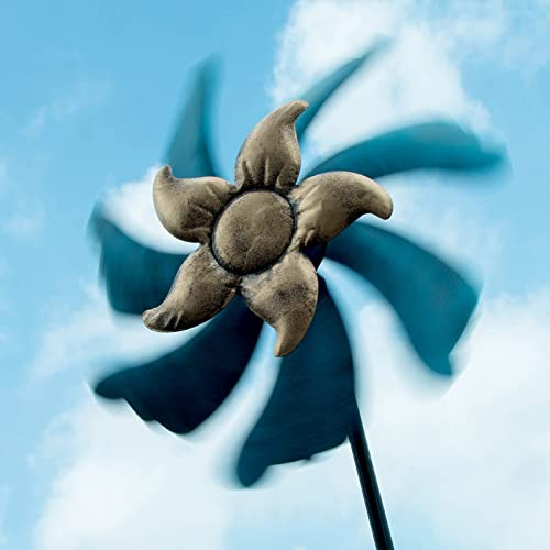 wholesale Kinetic Wind Spinner for Outside Metal Wind Spinner Stake Colorful 7-Blade Flower Spinner high quality Wind Mill Garden Art Sculpture Yard Decoration, 46In Lawn Decoration Ornament Wind 2021 Mill Detachable online