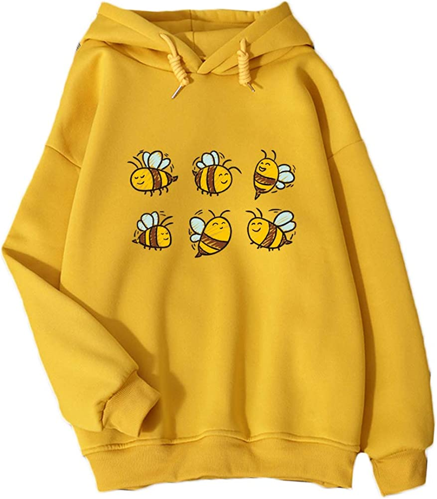 KEEVICI Women Cute Dealing full price reduction Bee Pattern Hoodies Plus Size Super sale period limited Autumn S Hooded