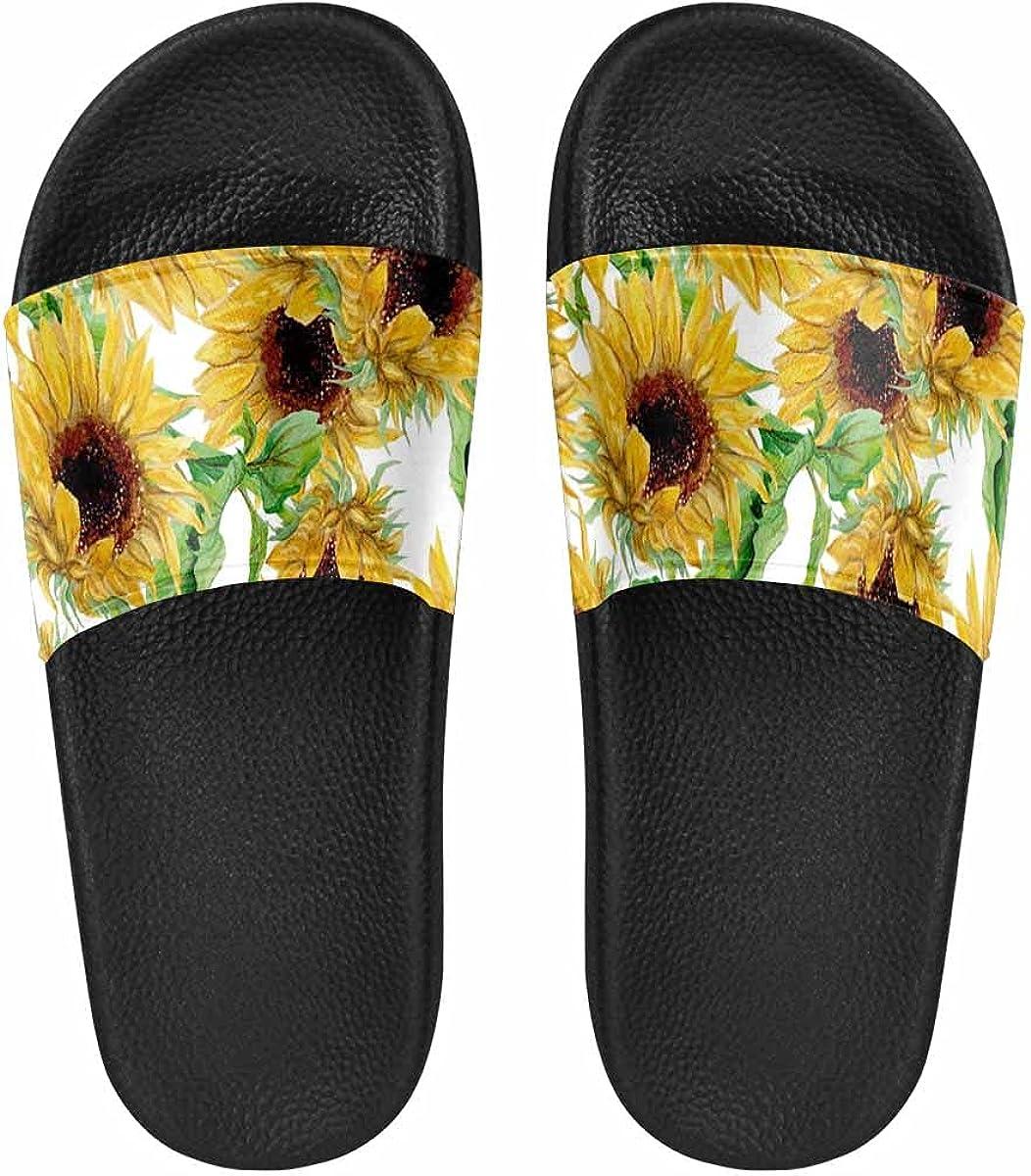 InterestPrint White Swan at Night Under the Moon Women's Slide Sandal Summer Beach Travel Sandal Indoor Shoes