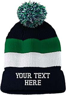 f72612ad Personalize Your Custom Text On Unisex Adult Acrylic Vintage Striped  Removable Pom Pom Beanie Skully Hat