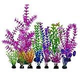 DunkGo - Plantas de acuario pequeñas plantas artificiales, utilizadas para el hogar y la oficina, decoración de acuario, 12 unidades
