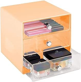 mDesign Plastic Makeup Organizer Storage Station Cube, 3 Drawers for Bathroom Vanity, Cabinet, Countertops - Holds Lip Gloss, Eyeshadow Palettes, Brushes, Blush, Mascara - Light Orange/Clear