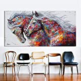 Orlco art Pintura al óleo para pared, pintura al óleo, animal, decoración del hogar, dos caballos corriendo impresión, lienzo para decoración del hogar, póster colorido de 50,8 x 101,6 cm