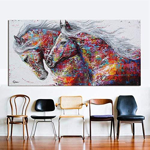 Wall Art Cuadro lienzo pintura al óleo animal decoración del hogar tres caballos corriendo impresión en lienzo para decoración del hogar imágenes póster colorido decoración del hogar, a, 24x48inch