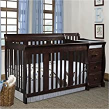 PEMBERLY ROW 4-in-1 Convertanle Crib and Changing Table Combo in Espresso - Easily Converts to Toddler Bed Day Bed or Full Bed, Adjustable Mattress Height