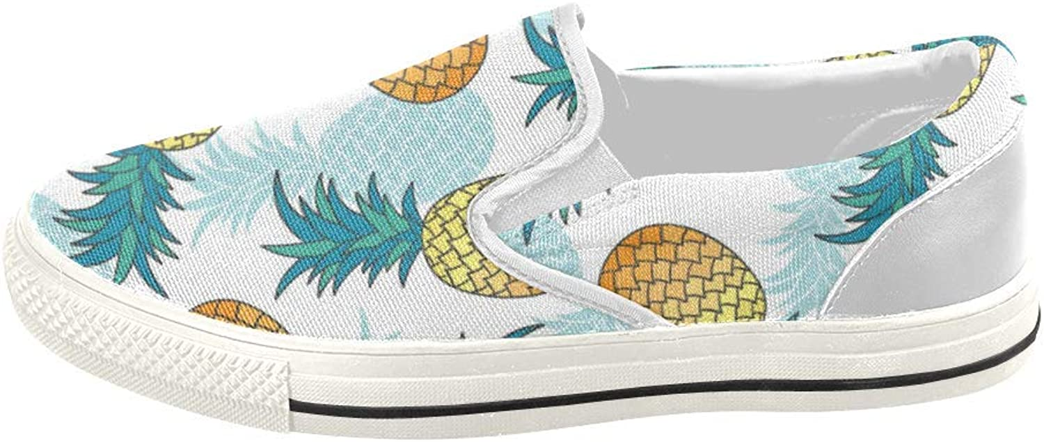 HUANGDAISY shoes Hawaiian Pineapple Slip-on Canvas Loafer for Women