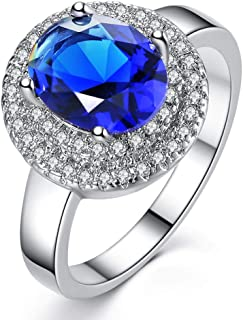 HYLJZ Anello Beiver Blue Oval Cubic Zirconia Rings for Women in Rhodium Plated Best Gifts for Women Girl