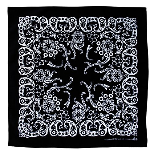 Tuch Schwarz Weiß Paisley Muster Kopftuch Bandana Halstuch Biker Sport Kopfbedeckung Einseitig Bedruckt