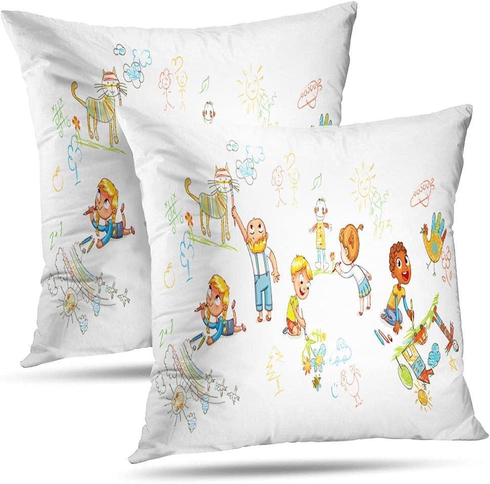 YUANYONG Decorative Pillows Set of 2 Throw Pillow Covers, Kids D