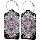Dataqe - Etiquetas de cuero para equipaje para cubierta de privacidad de 2.87 x 4.57 pulgadas (estilo tatuaje de henna étnico) Negro Negro (2 pieza