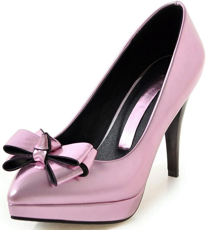KingRover Women's Fashion Bows Platform Stiletto High Heel Pump Dress shoes