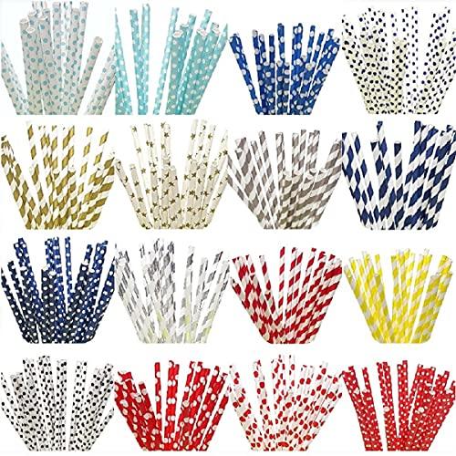 100 pezzi cannucce di carta cannucce colorate multicolori cannucce -protezione dell'ambiente e sicurezza- cannucce di carta flessibili per la casa, bar, feste tovaglioli di nozze (strisce rosa)
