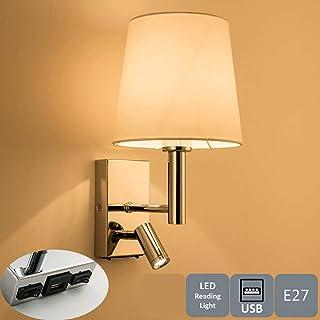 Parlat LED lecture Lampe//mur-éclairage Chrome interrupteur blanc chaud col de sygne