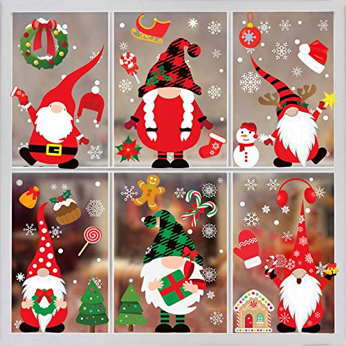 Christmas Window Clings-Christmas Window Stickers 316PCS Christmas Gnome Window Clings Christmas Window Decorations Xmas Santa Window Decals Clings for Glass Window