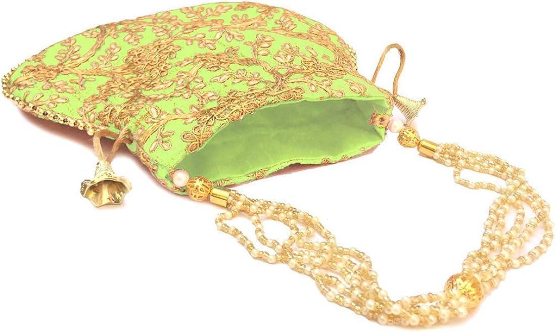 Indian Ethnic Designer Embroidered Silk Potli Bag Batwa Pearls Handle Purse Clutch Purse for Women