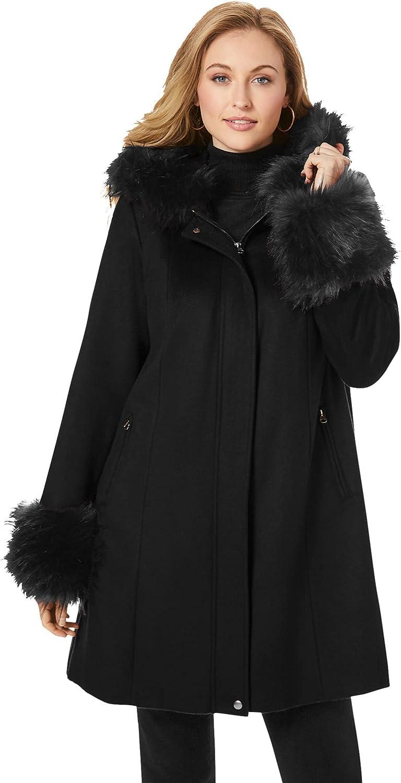 Jessica London Women's Plus Size Hooded Faux Fur Trim Coat Winter Wool Hooded Swing Coat