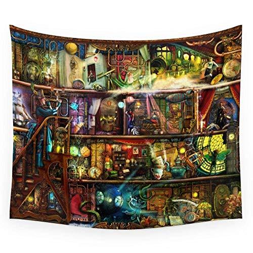 The Fantastic Voyage - Un estante de libros Steampunk Tapiz de pared...