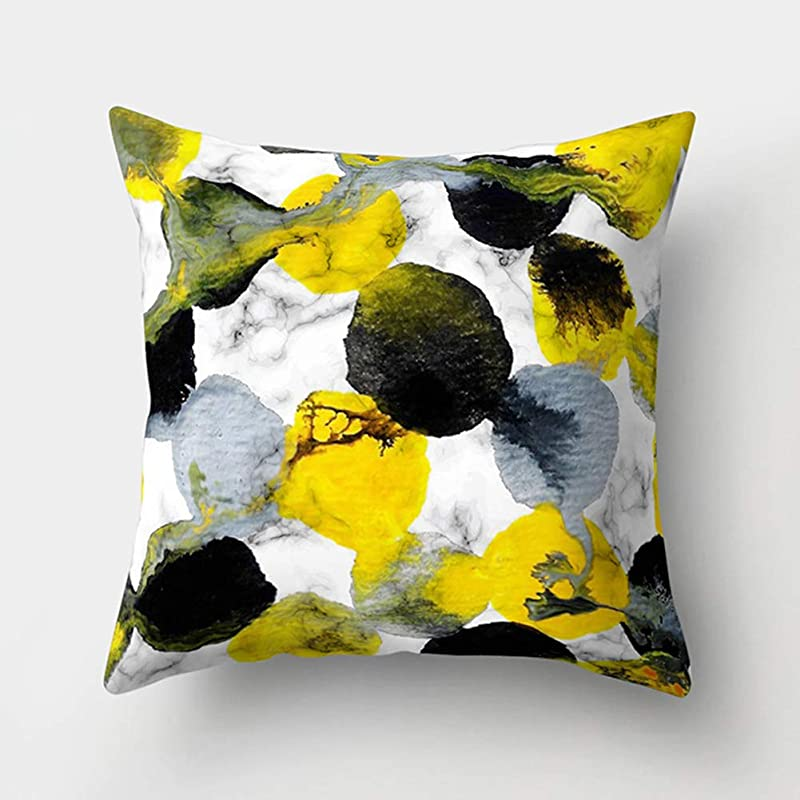 思慮のない木上下するクッションカバー FidgetFidget 北欧スタイルの黄色の幾何学的なマーブリングポリエステルピーチスキン投球枕カバー ソファ背当て 装飾枕カバー 座布団カバー 8# 45*45cm