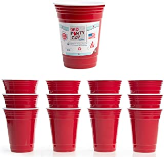 Trudeau (12 Pack) Red Party Cups 16 oz Plastic Cups Reusable Insulated Cup Bulk Party Supplies Set