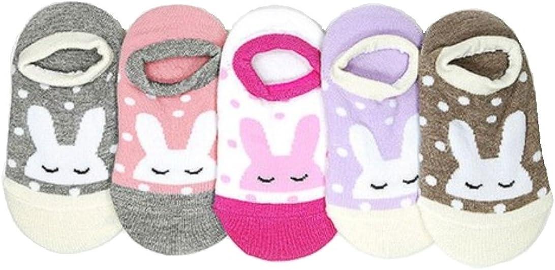Baby Socks, Anti Slip, Rabbit painting, 5-Pack set for 1-3 Year Baby