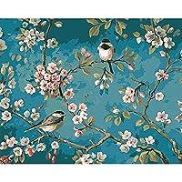 花と鳥DIY油絵ペイントbyナンバーキット絵画大人用キッズアートクラフト家の壁の装飾40x50cm(フレームなし)