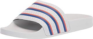 adidas Originals Men's Adilette Shower Slides Sneaker, White/Blue/Solar Red, 15