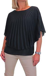icecoolfashion Blusa in Chiffon Pieghettato da Donna Top Tinta Unita con Crepe Under 42-54