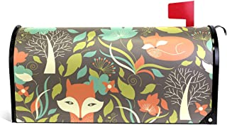 Cartoon Fox Fall Flower Mailbox Magnetic Cover Medium Large Capacity Post Box Covers