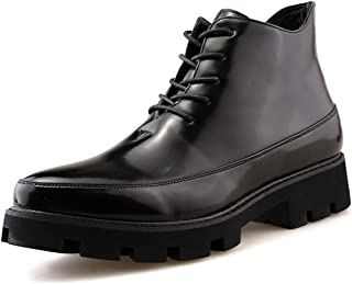 DADIJIER Derby Botas para los Hombres con Cremallera Interna Redondo Moc Toe Burnish Encaje Up Mid Top Sttiticing Syntheti...