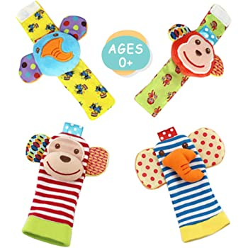 cute animal Toy Toys Babies /& Infant Toy Socks /& Baby Wrist Rattle Newborn Toys for Baby Girls /& Boys Tiger Foot Finders /& Wrist Rattles socks for Infants Developmental Texture Set of 4pc