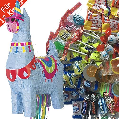 Pinata-Set * SÜSSES LAMA * mit großer Zug-Piñata + 100-teiliges Süßigkeiten-Füllung No.1 von Carpeta   Spanische Zugpinata für bis zu 12 Kinder   Tolles Spiel für Kindergeburtstag