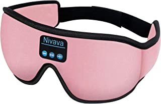 Nivava S8 Sleeping Headphones Bluetooth 5.0 Wireless 3D Eye Mask for Side Sleepers Washable Adjustable Perfect for Traveling (Pink)