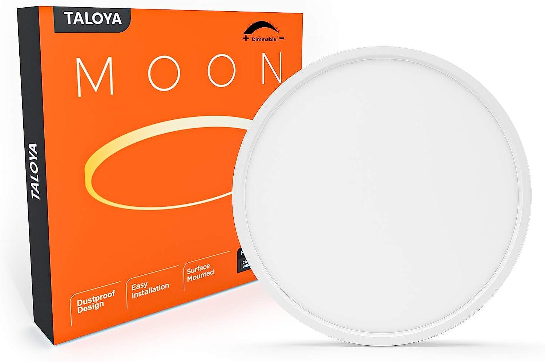 Taloya Dimmable Flush Mount LED Ceiling Light,3 Color in One (3000K/4000K/6500K) White 12inch 20W=200W Round for Bedroom Kitchen, ETL Listed