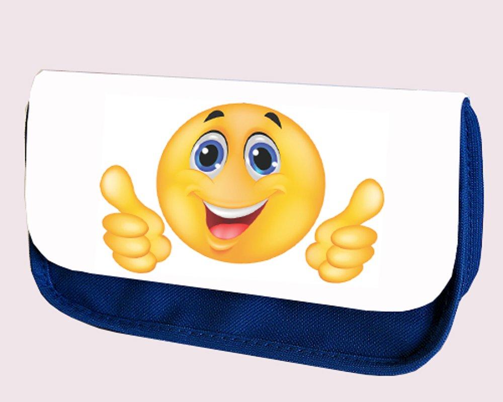 EMOJI SMILIEY - Estuche para bolígrafos, color azul: Amazon.es: Oficina y papelería